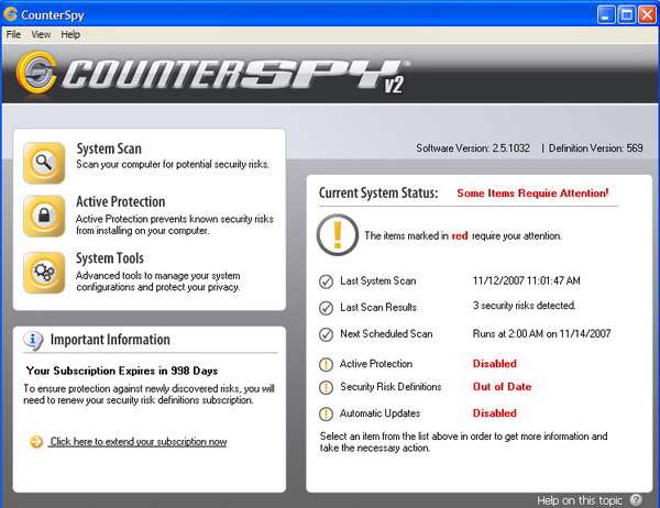 CounterSpy 2.5.1032