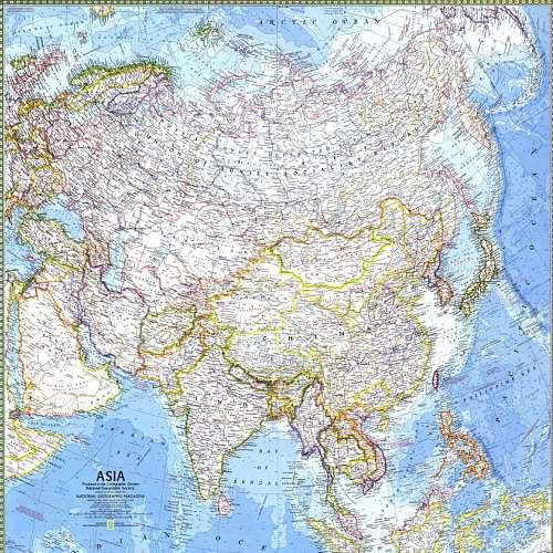 نقشه قاره آسیا از موسسه نشنال جئوگرافیک