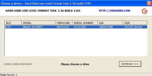 HDD Low Level Format Tool 2.36.1181