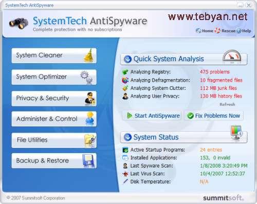 SummitSoft SystemTech AntiSpyware v2.0