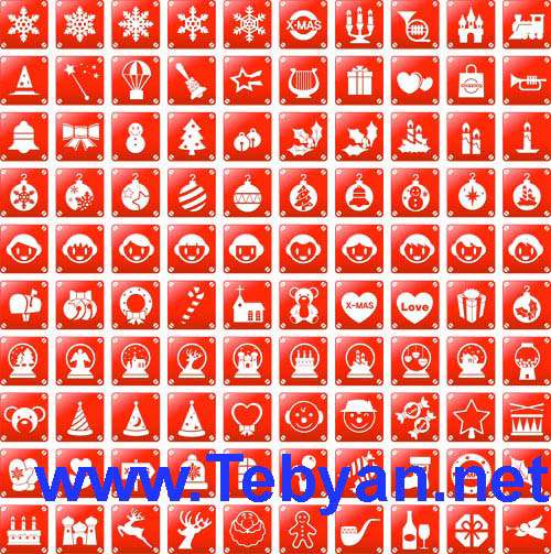 Christmas Red Vector Icons