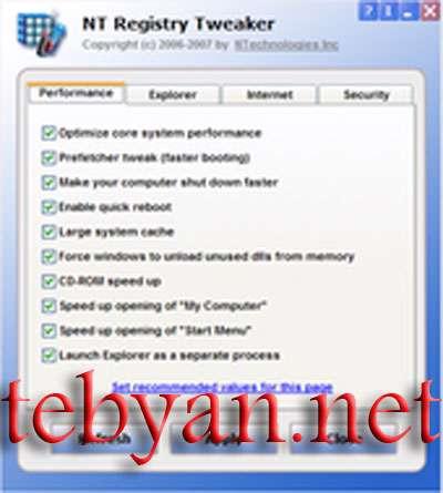 Free NT Registry Tweaker 1.0