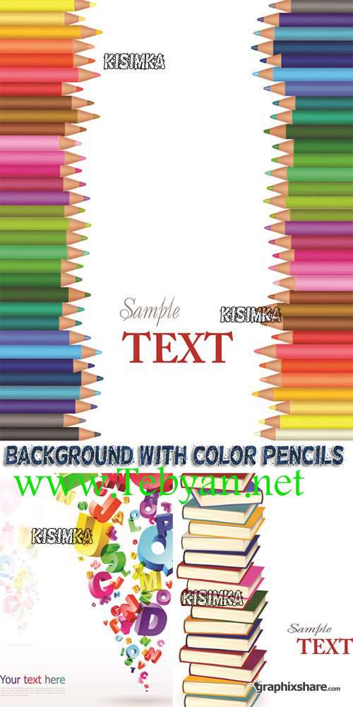 Background With Color Pencils Books And letters Vector