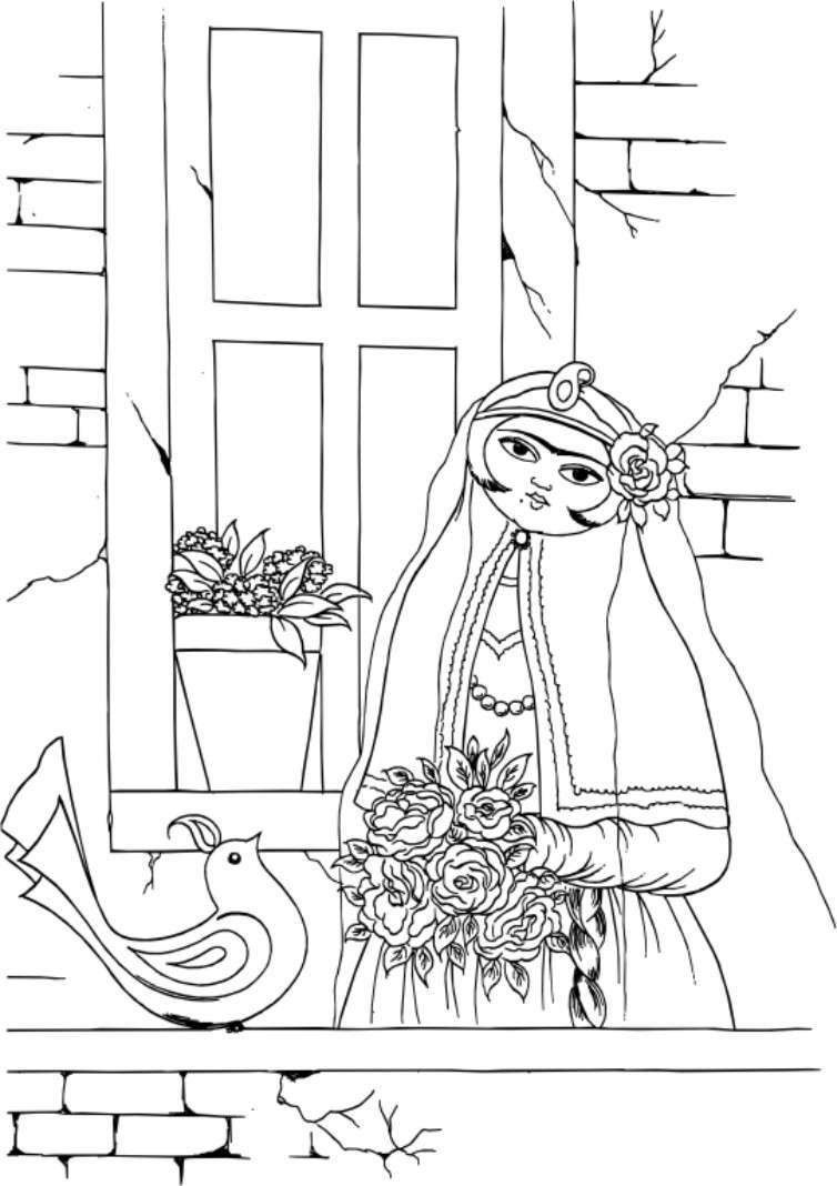 طرح وکتور مینیاتور مینیاتور خاتون، پرنده و گلدان با پسوند EPS