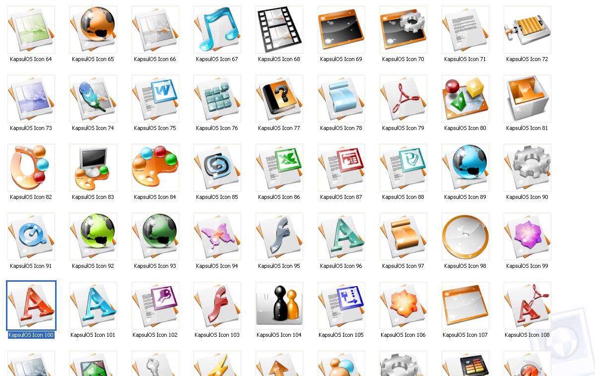 نمونه آیکون های نوار ابزار Kapsul Icon