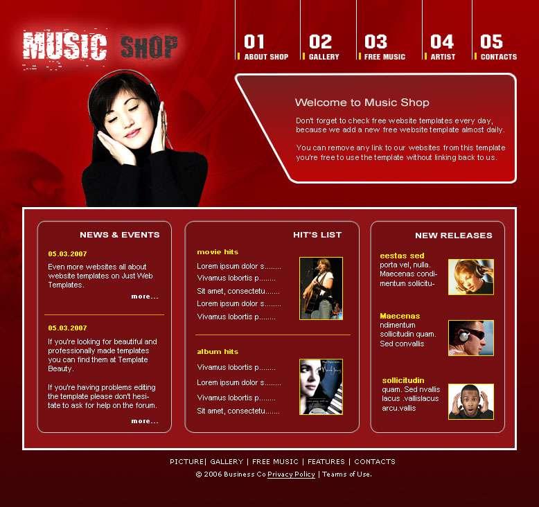 قالب های ساده و زیبا فروشگاه اینترنتی موسیقی