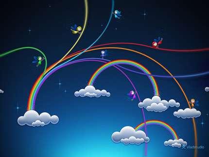 آموزش مرحله به مرحله طراحی رنگین  کمان و فرشته در فوتوشاپ
