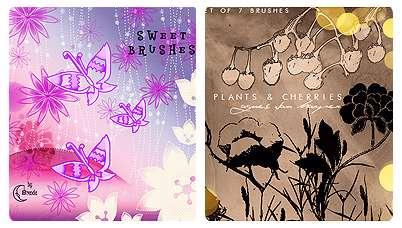 براش هایی زیبا از پروانه ها و گل ها