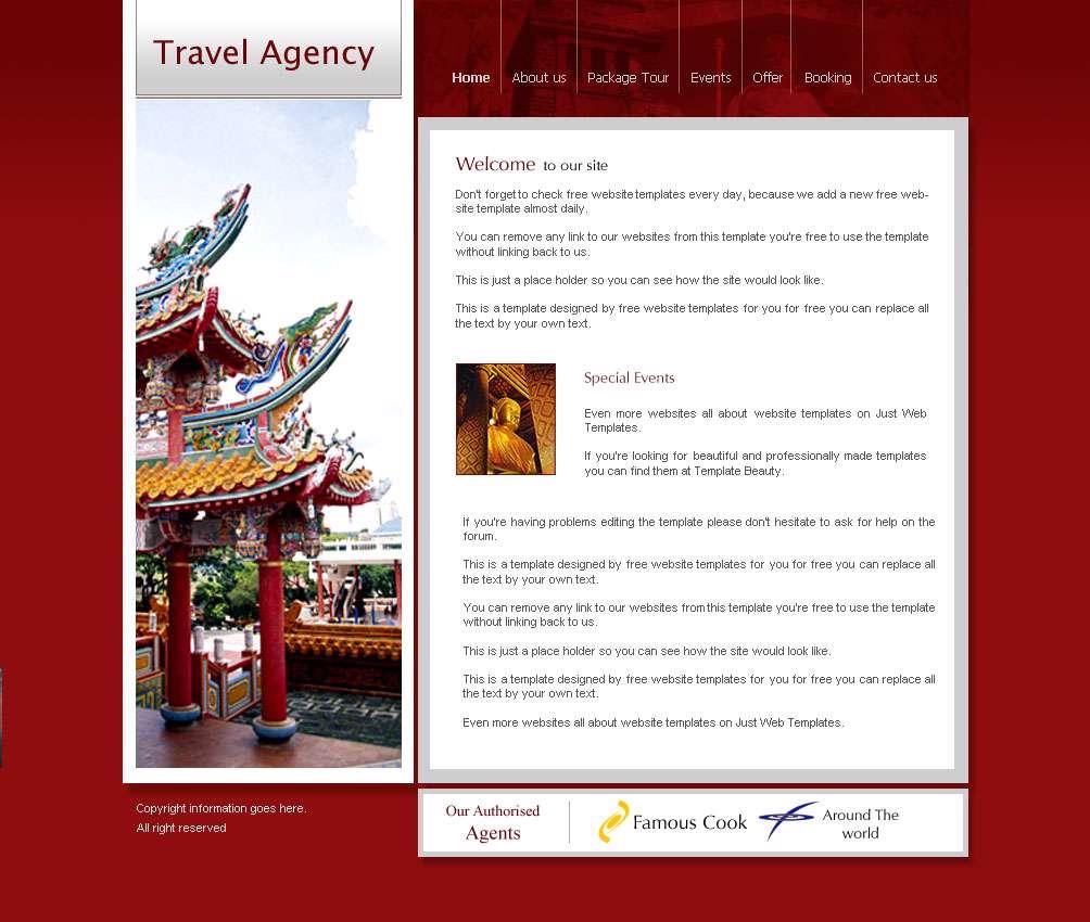 قالب ساده سایت آژانس مسافرتی و جهانگردی