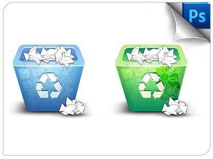 طراحی یک آیکون سطل بازیافت سه بعدی در فتوشاپ