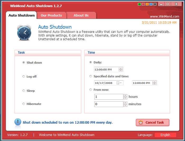 خاموش کردن خودکار سیستم با WinMend Auto Shutdown v1.2.7