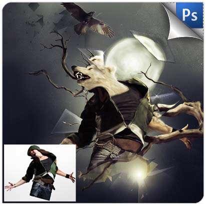 تبدیل یک انسان به یک گرگ نقاشی شده انتزاعی در فوتوشاپ