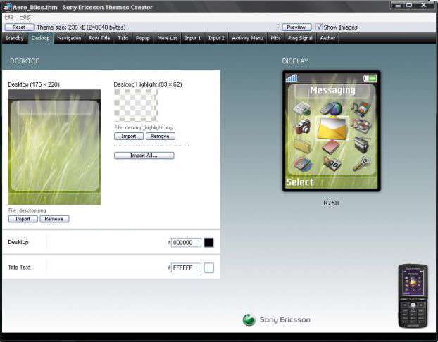 ایجاد حرفه ای تم گوشی سونی اریکسون با Sony Ericsson Themes Creator 4.12.2.4