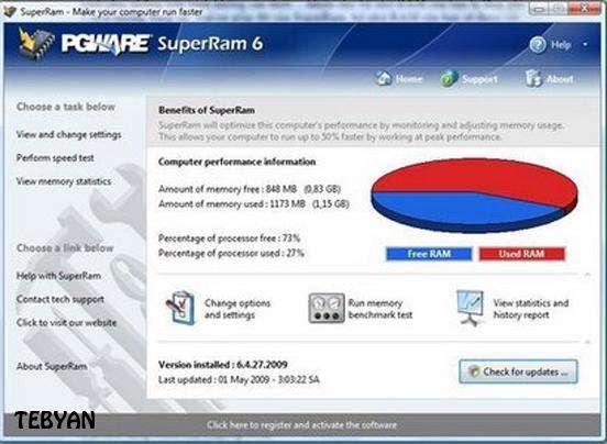 بهینه سازی رم با PGWare SuperRam 6.10.17.2011