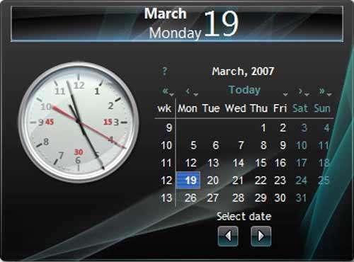 تقویم و ساعت زمینه ویندوز (گدجت) Date v6