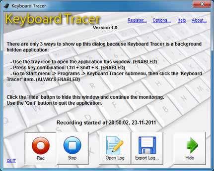 ثبت فعالیت های صفحه کلید با Keyboard Tracer v1.8
