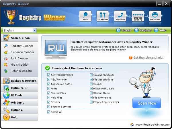 بهینه سازی رجیستری ویندوز با Registry Winner v6.4.12.12