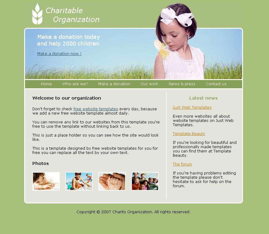 قالب ساده یک سایت کودکانه با موضوعیت کمک به کودکان