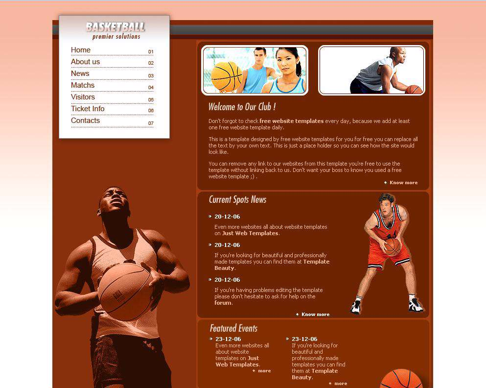 قالب ساده سایت ورزشی با موضوعیت بسکتبال