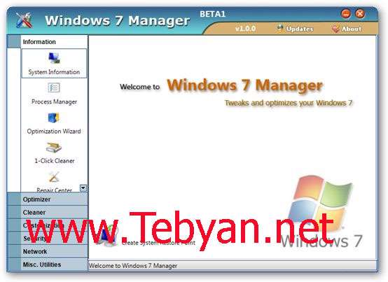 Windows 7 Manager 3.0.8 - مدیریت ویندوز 7