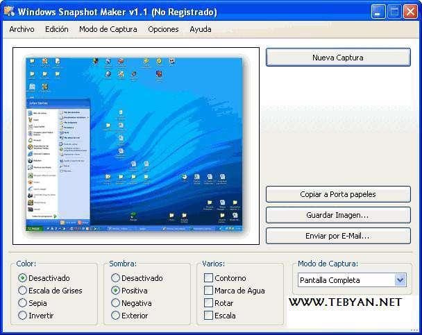 گرفتن عکس از دسکتاپ ویندوز، WinSnap 4.01