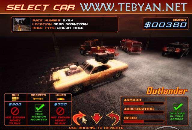 بازی ماشین سواری مسابقه مرگبار نسخه پرتابل، Portable Deadly Racer