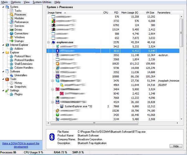 System Explorer 3.8.3 - نمایش پردازه های سیستمی