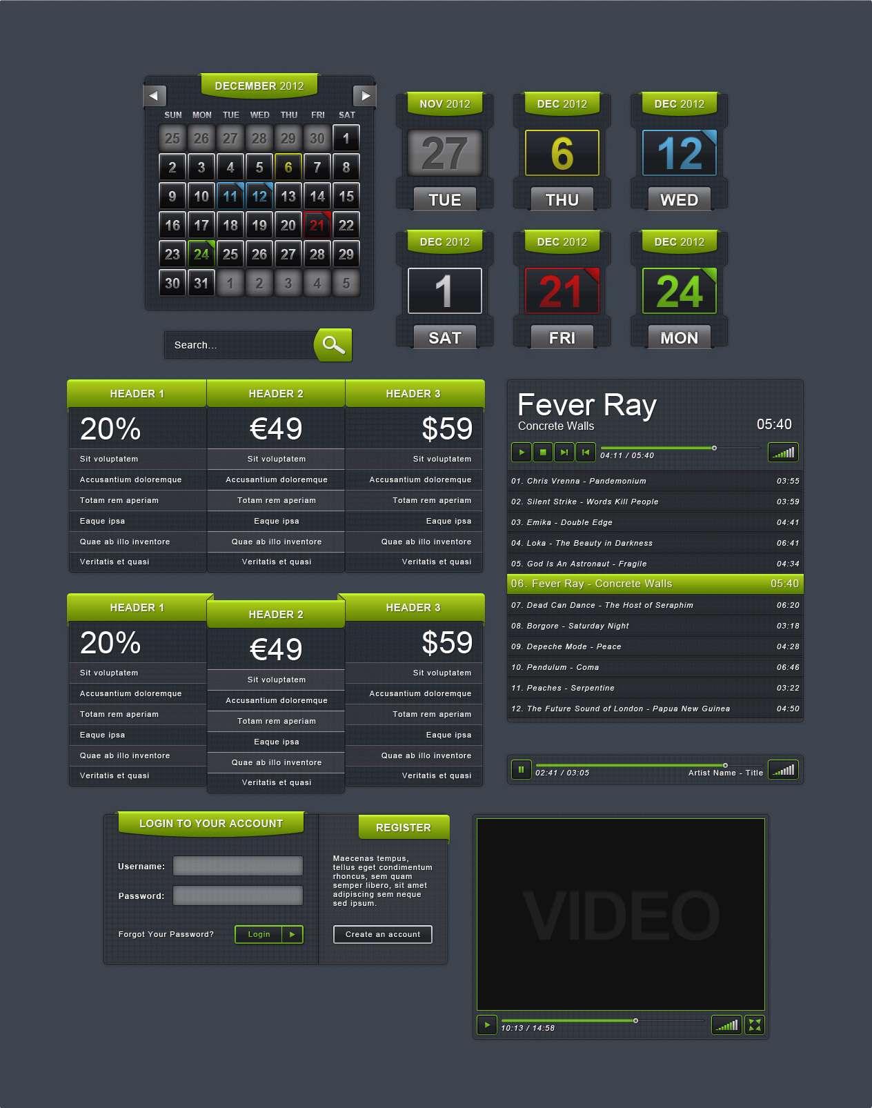 دکمه ها و باکس های لایه باز جهت طراحی یک سایت ویدئویی