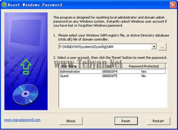 ریست کردن پسورد ویندوز با Reset Windows Password v1.90