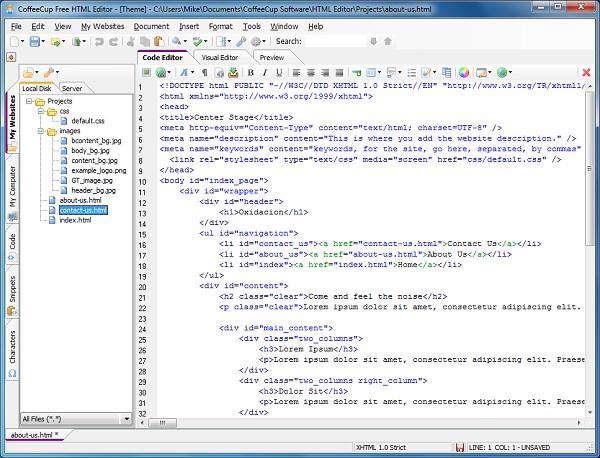 طراحی وب سایت با  CoffeeCup Free HTML Editor v9.7 Build 409