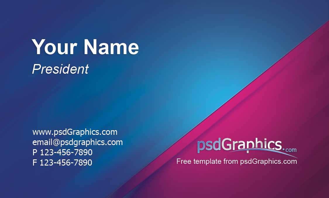 نمونه فایل لایه باز کارت ویزیت تجاری تلفیقی از رنگ صورتی و آّبی