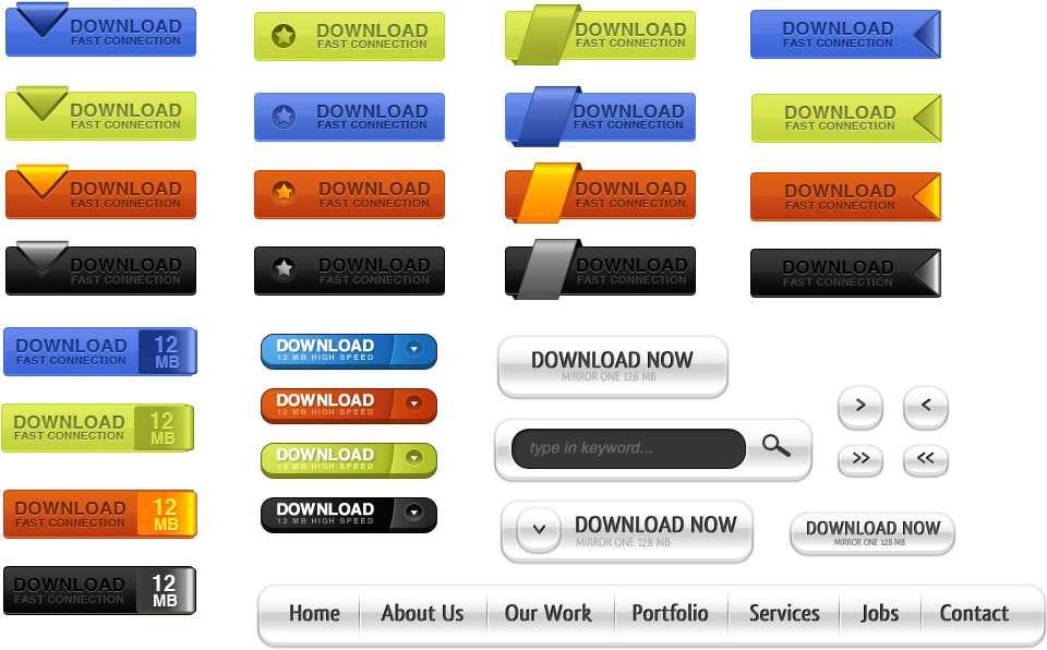 تصاویر لایه باز دکمه دانلود در طرح ها و رنگ های متنوع