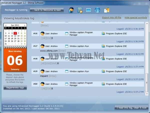 گزارش فعالیت کاربران در کامپیوتر و اینترنت با Eltima Advanced Keylogger v2.2.9.110