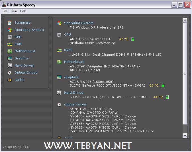نمایش اطلاعات رایانه، Speccy 1.15.309