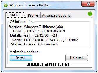 فعال سازی و رفع محدودیت زمان ویندوز هفت، Windows 7 Loader v2.1.4
