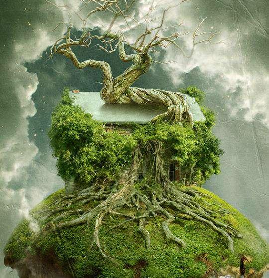خلق یک خانه درختی شناور در فتوشاپ