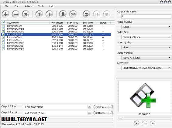چسباندن چند فایل ویدئویی، Aone Ultra Video Joiner 6.3.0309