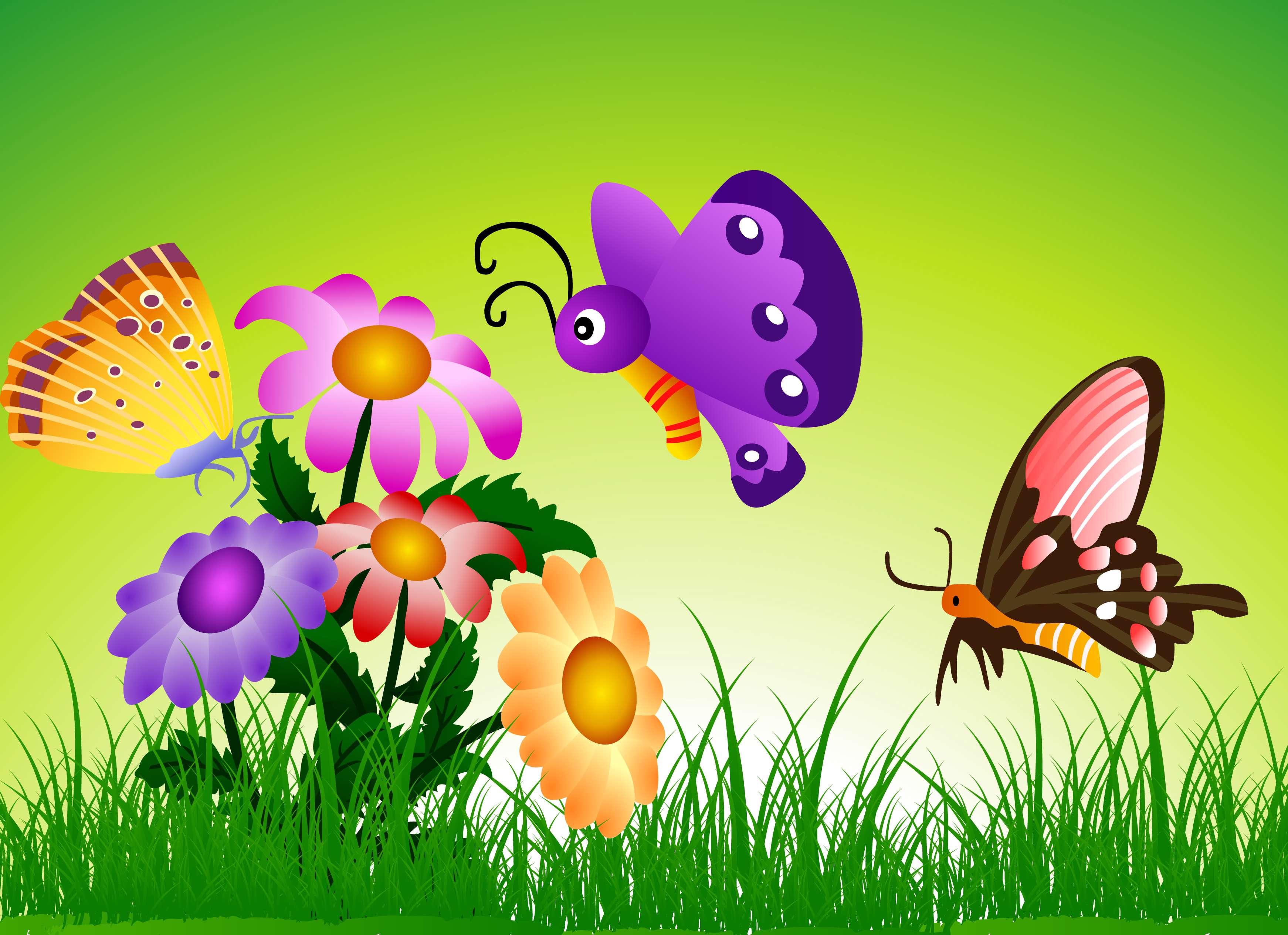 تصاویر لایه باز (psd) پس زمینه رنگارنگ در فضای طبیعت همراه با گل و پروانه