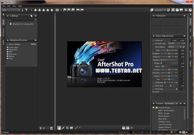 مدیریت حرفه ای تصاویر، Corel AfterShot Pro 1.0.1.10