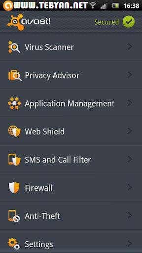 بسته امنیتی موبایل اوست نسخه اندروید، avast! Mobile Security 2.0.2880