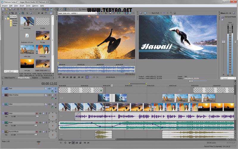 ویرایشگر حرفه ای فیلم، Sony Vegas Movie Studio HD Platinum 11.0.322