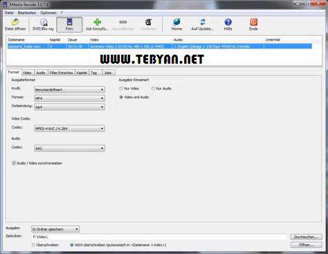 تبدیل فایل های صوتی و تصویری به یکدیگر، XMedia Recode 3.1.1.4