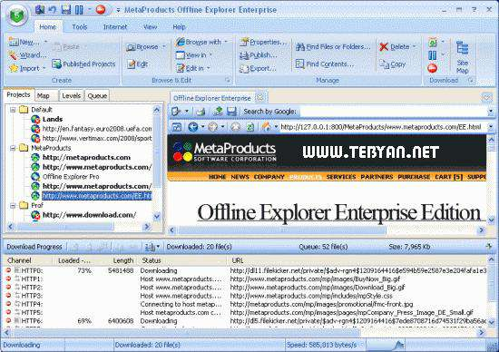 دانلود و ذخیره سایت+فارسی ساز+پرتابل، Offline Explorer Enterprise 6.4.3842
