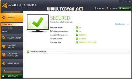 به روز رسانی نرم افزار امنیتی Avast! 7.0.1426 (تا 12 اردیبهشت ماه 1391)
