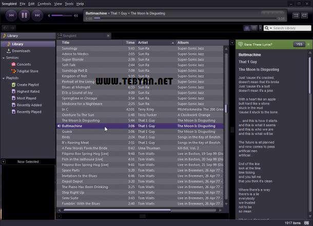 پخش و مدیریت فایل های صوتی، Songbird 2.0.0.2311