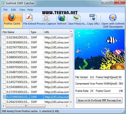 ذخیره فایل های فلش، Sothink SWF Catcher 2.0 Build 509