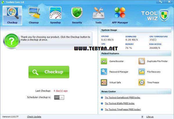 مجموعه ابزارهای کاربردی و بهینه ساز رایانه، Toolwiz Care 2.0.0.4100