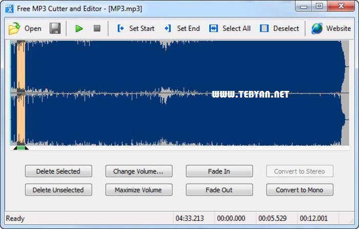 برش و ویرایش فایل های ام پی تری، Free MP3 Cutter and Editor 2.6.0.1148