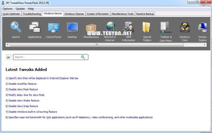 بهینه سازی و افزایش سرعت رایانه، TweakNow PowerPack 2012 4.1.9