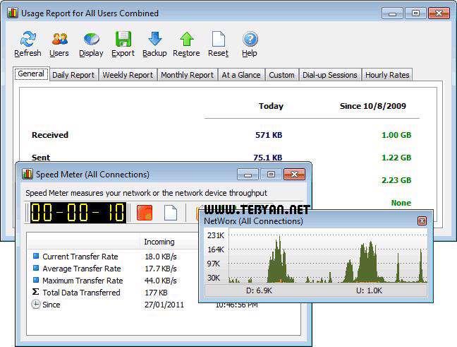 كنترل پهنای باند اینترنت + پرتابل، NetWorx 5.2.5